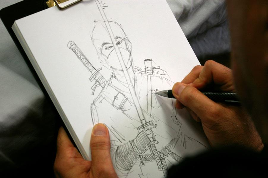 Larry Hama sketching